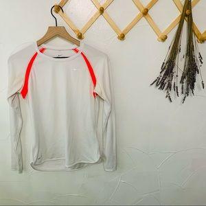 Nike White Dri-Fit Long Sleeve Activewear Tee